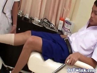 Asian twink pissed on by uniformed doctor