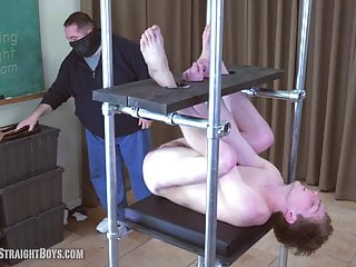 Straight Teen Boy Locked in a Spanking Tower & Spanked Hard